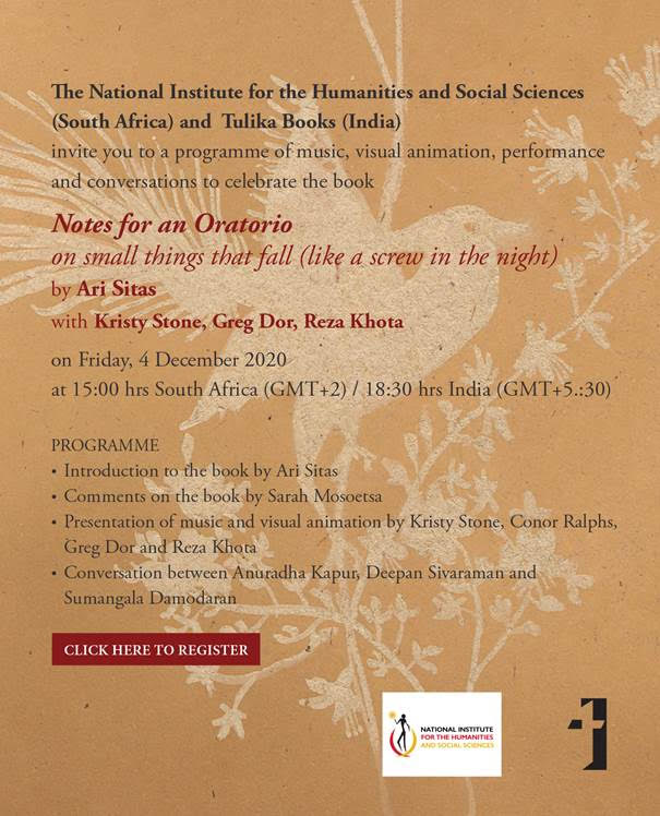 """Book launch: """"Notes for an Oratorio: on small things that fall (like a screw in the night)"""""""
